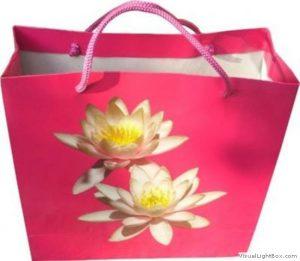 Nilüfer çiçek baskılı karton çanta