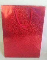kırmızı helogramlı karton çanta